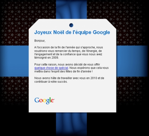 Joyeux Noël de la part de Google