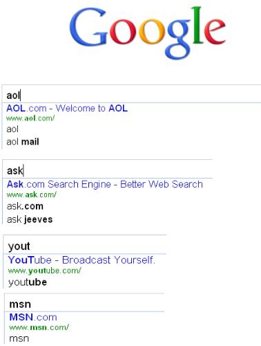 urls dans les suggestions google