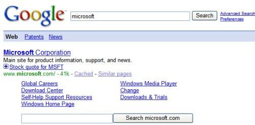 boite de recherche Microsoft