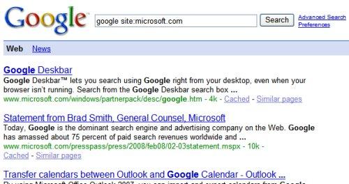 resultat boite de recherche Microsoft sur Google