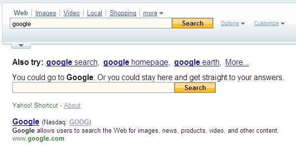Resultats Yahoo sur la requete Google
